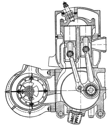 Схема двухтактного двигателя с П-образным расположением.
