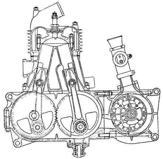 Схема двухтактного двигателя с Л-образным расположением цилиндров.