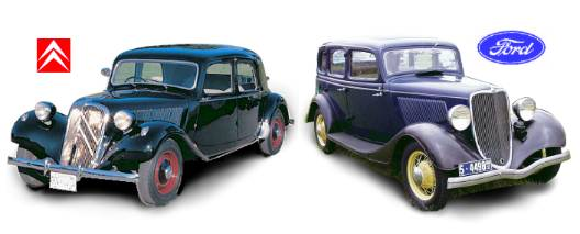 Citroën Traction Avant 1934  (left) & Ford Fordor Sedan 1933 (right)