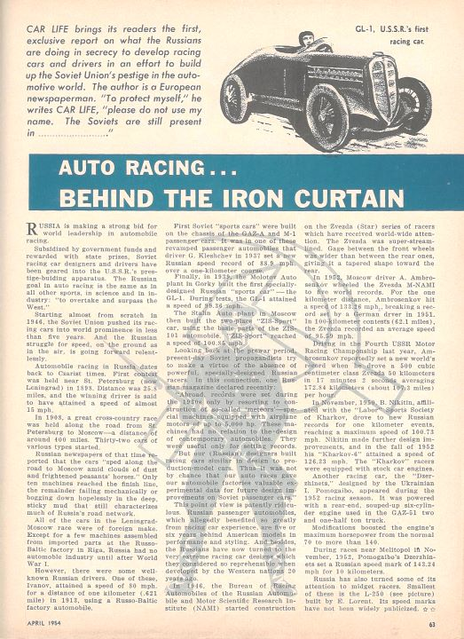 Auto racing...  Behind the iron curtain